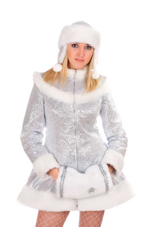 Portrait of a sexy Snow Maiden. Isolated photo