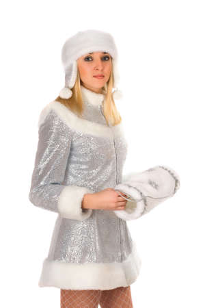 Portrait of a attractive Snow Maiden. Isolated photo