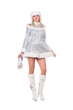 Sexy junge Frau als Schneewittchen verkleidet. Isoliert auf weißem