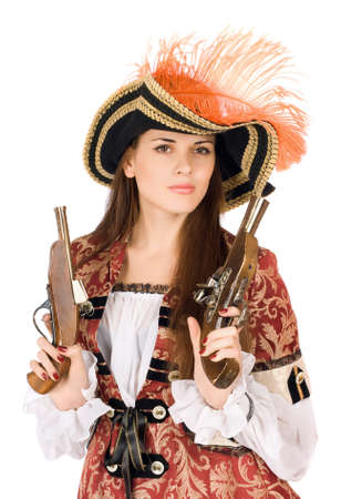 Nice young woman with guns dressed as pirates photo