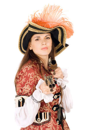Attractive young woman with guns dressed as pirates photo