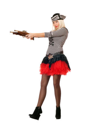 Amazing young blonde with guns dressed as pirates photo