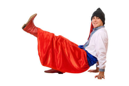 papakha: Cheerful young man in the Ukrainian national costume