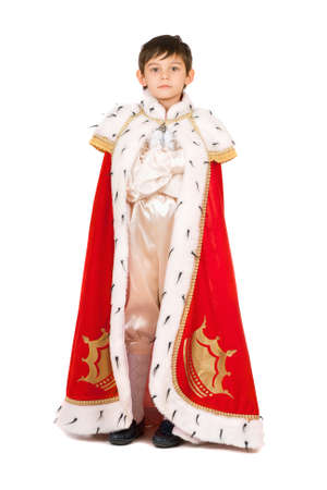 robe: Boy dressed in a robe of King