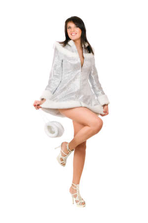 Playful sexy young brunette dressed as Snow Maiden Stock Photo - 12177252