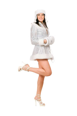 Sexy playful young brunette dressed as Snow Maiden photo