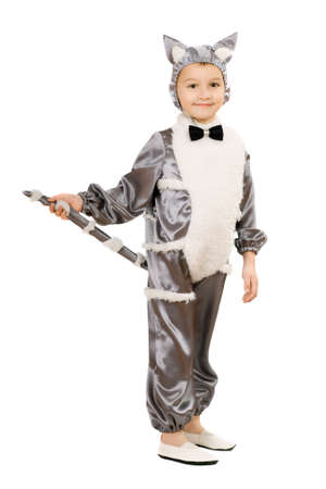 Boy dressed as cat. Isolated on white background photo