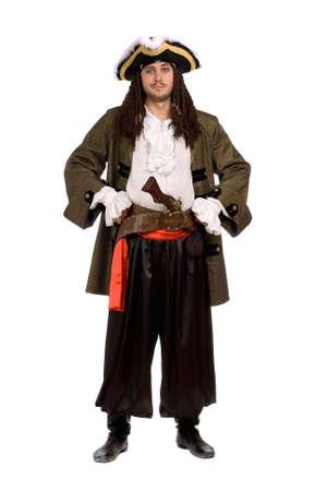 piratenhoed: Jonge man in een piraat kostuum met een pistool. Geà ¯ soleerd op wit Stockfoto
