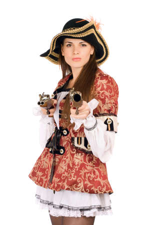 Young perfect woman with guns dressed as pirates photo