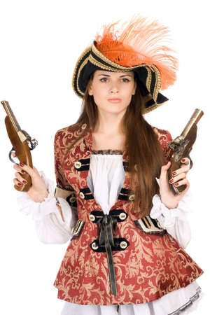 Gorgeous young woman with guns dressed as pirates