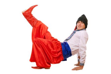 papakha: Guy in the Ukrainian national costume. Isolated Stock Photo