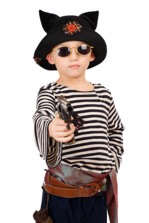 Portrait of a boy dressed as pirate. Isolated photo