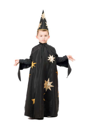 astrologer: Little boy dressed as astrologer. Isolated on white