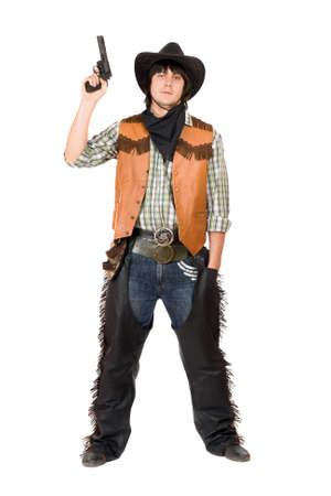 bandidas: Vaquero con una pistola en la mano. Aislado