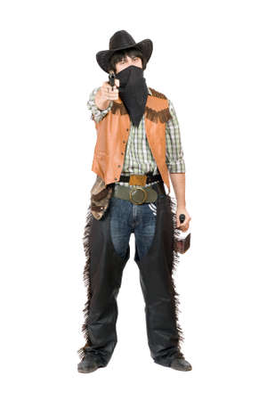 Cowboy with a gun and bottle of whiskey in hands. Isolated photo