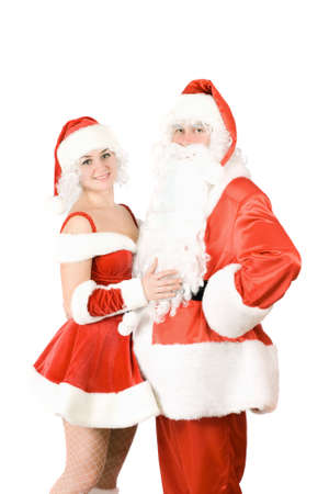 Santa Claus and Snow Maiden. Isolated on white photo