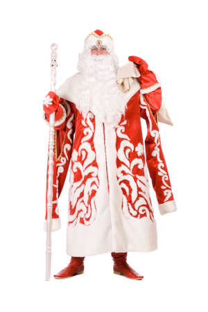 Russian Christmas character Ded Moroz (Father Frost). Isolated on white photo