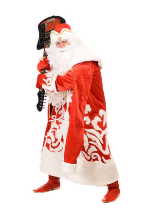 ded moroz: Mad Ded Moroz (Father Frost) with a broken guitar