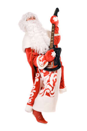 'ded moroz': Mad Ded Moroz (Father Frost) plays on broken guitar. Isolated Stock Photo