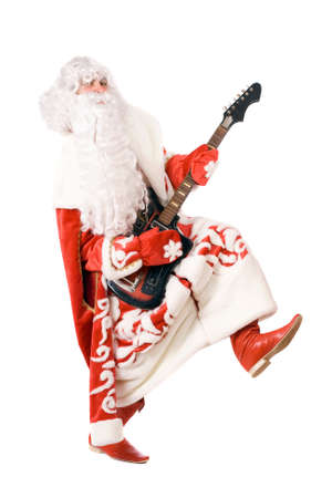 Mad Ded Moroz (Father Frost) plays on broken guitar. Isolated on white photo