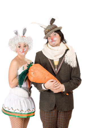 Portrait of a funny couple dressed as rabbits photo