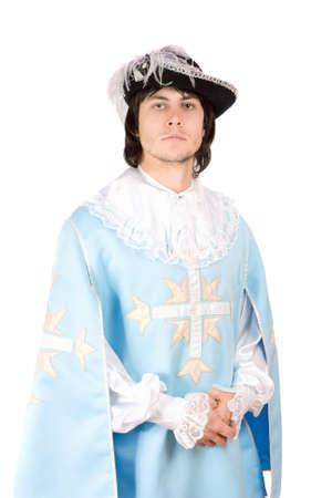 mosquetero: Retrato de hombre joven vestido de mosquetero. Aislado Foto de archivo