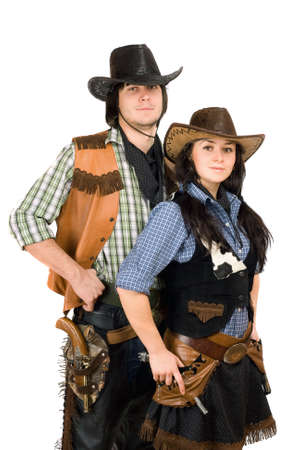 Portrait of a young cowboy and cowgirl