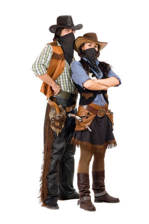Couple of burglars in cowboy costumes. Isolated photo