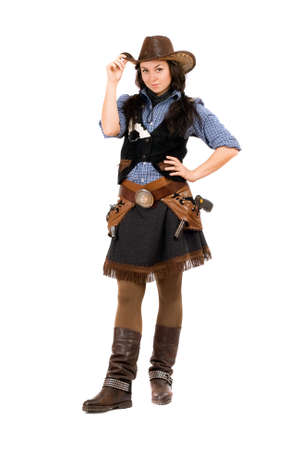 black cowgirl: Pretty young woman dressed as a cowboy. Isolated on white