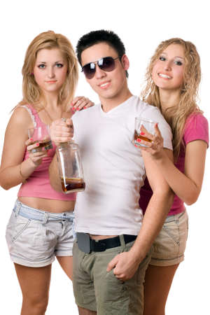 Young people with a bottle of whiskey. Isolated photo