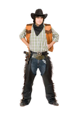 Young man dressed as cowboy. Isolated on white photo
