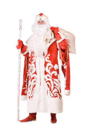 Russian Christmas character Ded Moroz (Father Frost) with a bag Stock Photo