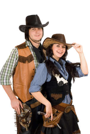 Portrait of a young cowboy and cowgirl. Isolated photo