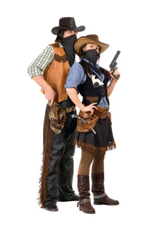 Couple of burglars in cowboy costumes. Isolated on white photo