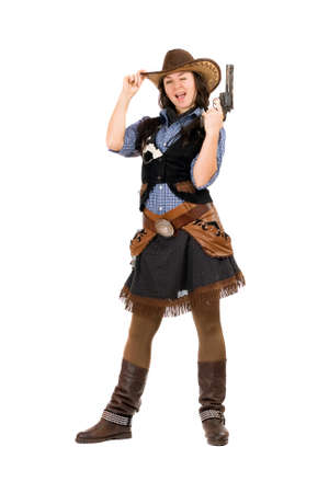 stetson: Cheerful cowgirl with a gun in hands. Isolated on white