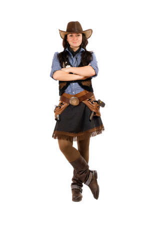 cowgirl boots: Young woman dressed as a cowboy. Isolated