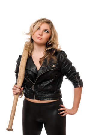 Portrait of pretty blonde with a bat in their hands photo