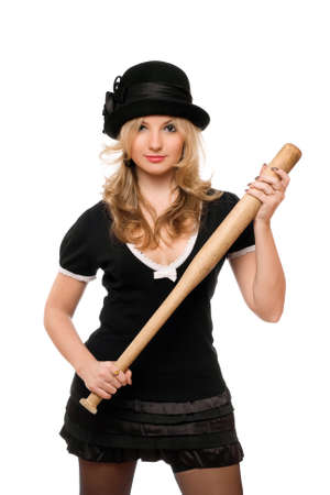 Portrait of nice girl with a bat in their hands photo