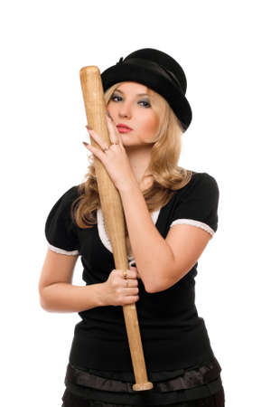 Portrait of attractive lady with a bat in their hands photo