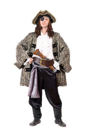 Man dressed as pirate. Isolated on white