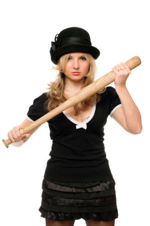 Portrait of angry young lady with a bat in their hands photo