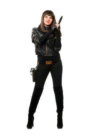 Hot armed girl in black with a gun photo
