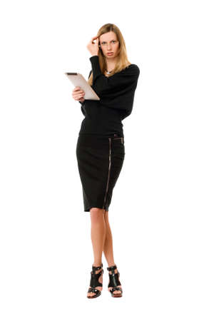 pocket pc: Pretty blonde young woman with the glasses Stock Photo