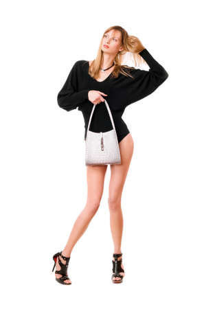 Sensual blonde lady with the white purse photo