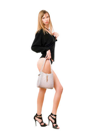 Pretty blonde girl with the white purse photo