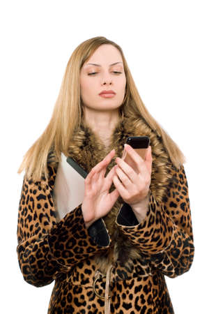 pocket pc: Young blonde in the fur coat calling