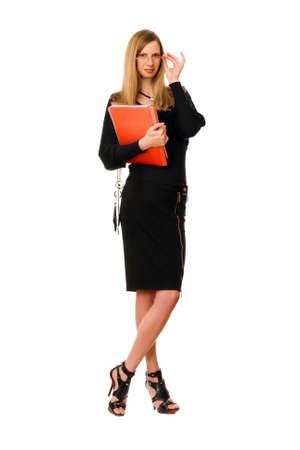 Beautiful lady with the folder. Isolated on white photo