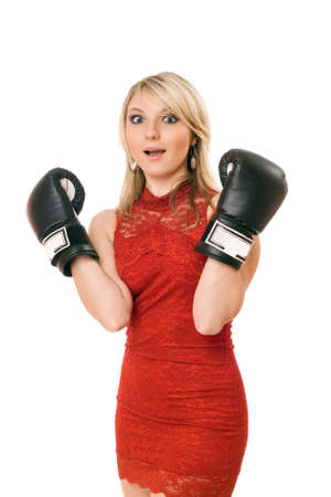 Charming blond young girl in boxing gloves Stock Photo - 13094308