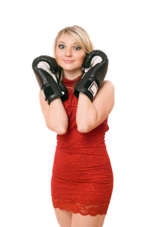 Charming blond young lady in boxing gloves photo