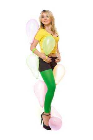Hübsche junge sexy blonde Frau mit Luftballons